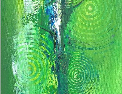 Wandbilder grün abstraktes Acrylbild zweiteilig hochformat 3+4 k