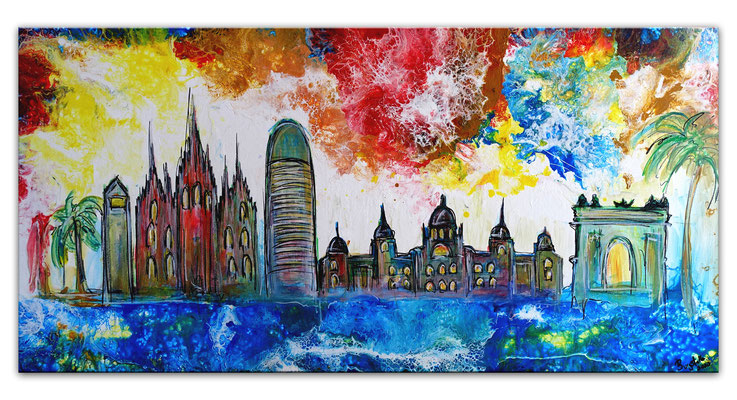 Barcelona abstrakt gemalt Sagrada Familia Torre Glories Triumphbogen Montjuïc Malerei Gemälde