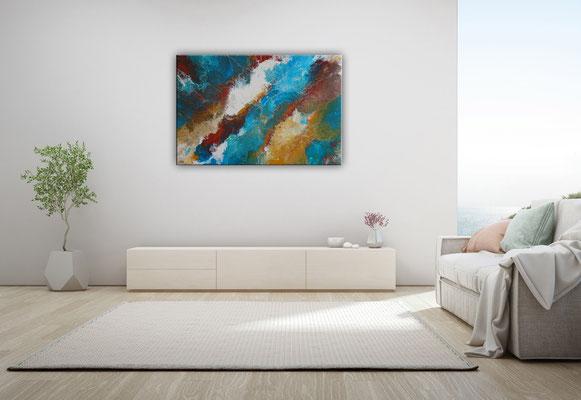 Delta abstraktes Leinwandbild Wandbild blau braun Acrylbild Gemälde 100x65