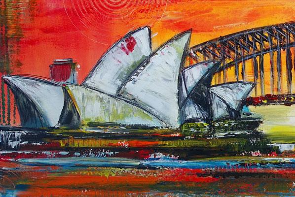 Sydney Skyline Wandbild Oper Harbour Bridge handgemalt XXL Gemälde Acrylbild Unikat Original