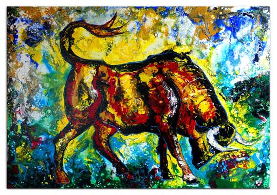 Wohnzimmer Bild modern Wilder Stier Bulle braun gelb Tier Malerei Acrylbild Pouring 116x81
