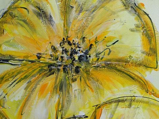 Zwei gelbe Blüten handgemaltes Blumenbild Wandbild Blumen