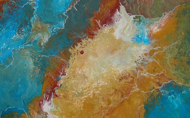 Delta abstraktes Leinwandbild Wandbild blau braun Original Acrylbild Gemälde