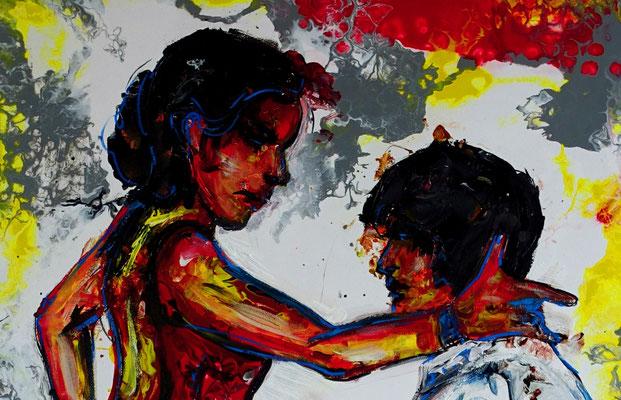 Merengue Tanzpaar Tänzerbilder Tänzer Gemälde Malerei Studio Fluid Art Pouring Leinwand