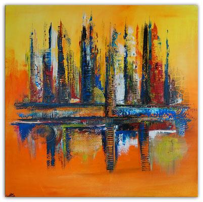 Oase abstraktes Leinwandbild orange blau