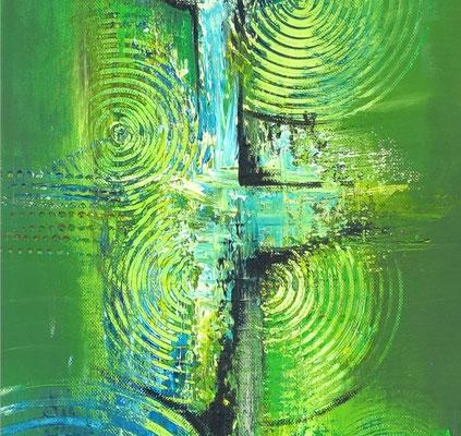 Küchenbilder grün abstraktes Acrylgemälde zweiteilig hochformat
