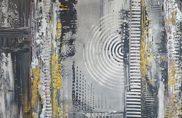 Schwarz grau Ocker abstraktes Kunstbild Malerei Gemälde Unikat Wandbild