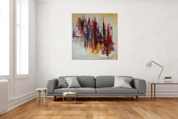 Feuerfront abstrakte Kunst Malerei Modernes Acrylbild rot orange 100x100