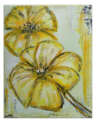 Zwei gelbe Blüten handgemaltes Blumenbild Wandbild Blumen Malerei Acryl