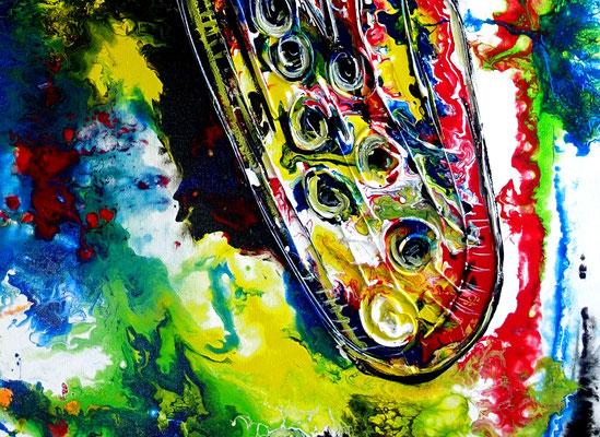 Saxophon abstraktes Gemälde Acrylbild Fluid Painting Moderne Malerei