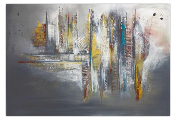 Dripping Gold abstraktes Wandbild Leinwandbild beige grau Acryl Gemälde