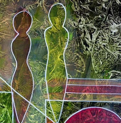 Begegnung Figuren Bild 50x60 Abstrakte Malerei Unikat Kunstbild