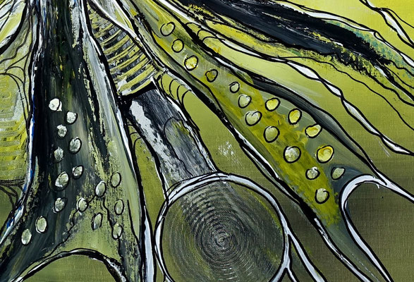 Expansion abstrakte Malerei Acrylbild Gemälde Kunstgrau abstrakt