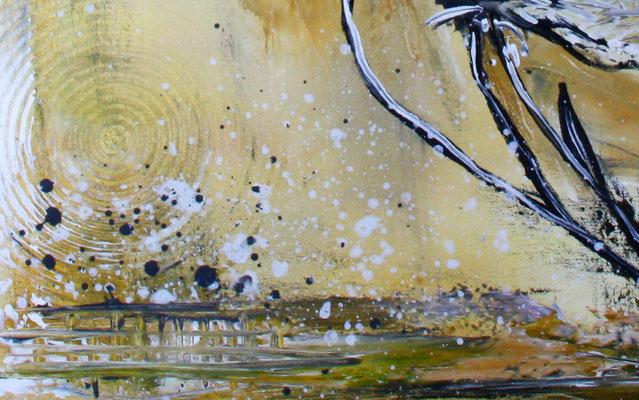 Mohnblumen im Sturm ocker grau weiß Blumenbild Malerei Gemälde Wandbild