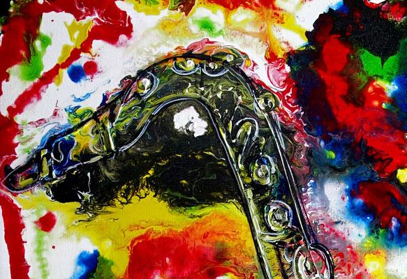 Saxophon Gemälde Acrylbild Fluid Painting Instrument Musikbild Kunst Wandbild Büro Praxis