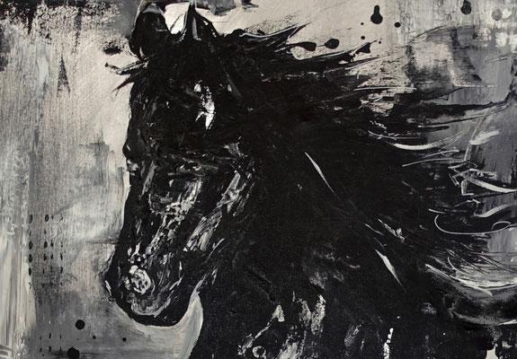 Schwarzer Hengst handgemalt Pferdebild gemalt Malerei Pferde Gemälde Acrylbild