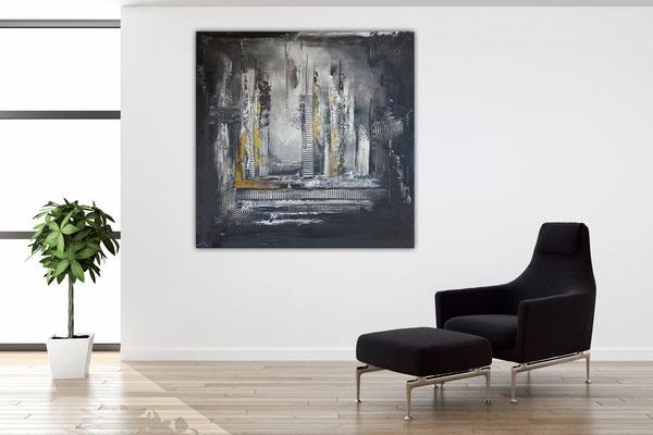 Schwarz grau Ocker abstraktes Kunstbild Malerei Unikat Wandbild Leinwandbild