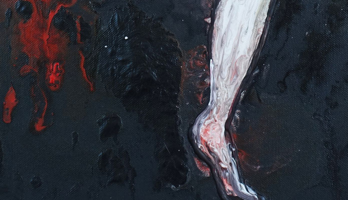 Posing 4 erotische Malerei Fluid Painting Erotik Bild Nackte Frau rot