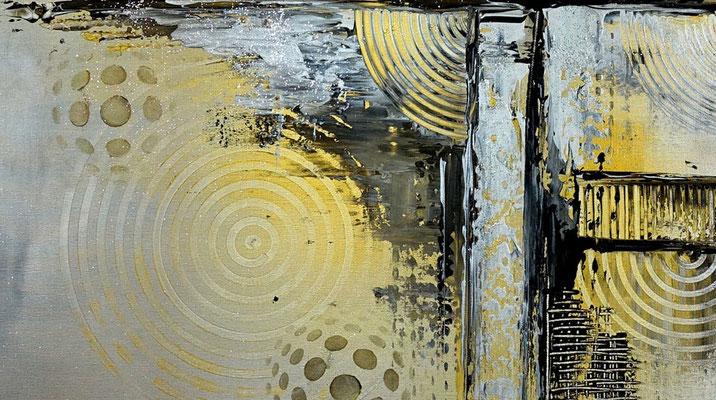 Silber Gold Sept Malerei abstrakt Bild Gemälde Acrylbild
