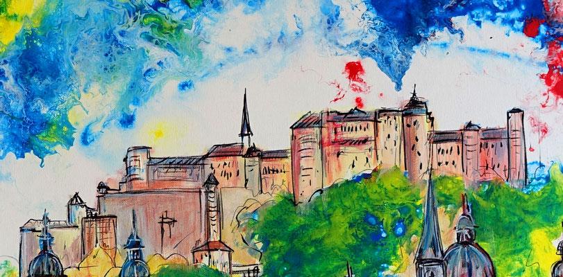 Salzburg Altstadt Festung Dom handgemalt Bild Gemälde Malerei Wandbild