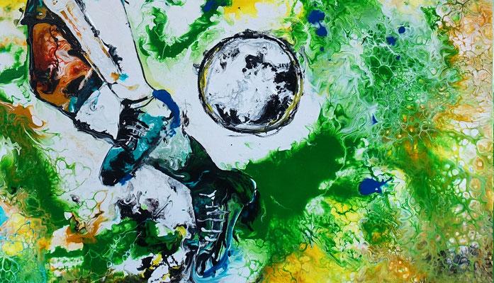 Leinwandbild Fußball Hacke abstrakte Kunst Malerei Gemälde Wandbild 60x90