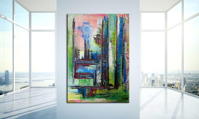 Confused bunt pastell abstrakt acrylbilder bilder grün rot blau aus