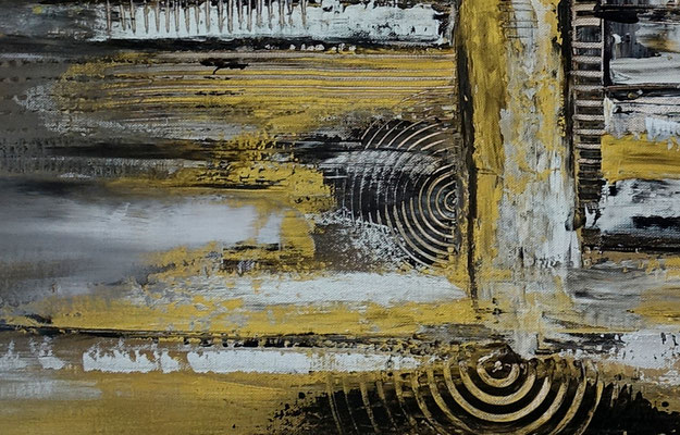 Luxus Stadt abstrakte Malerei Wandbild Silber Gold Acrylgemälde
