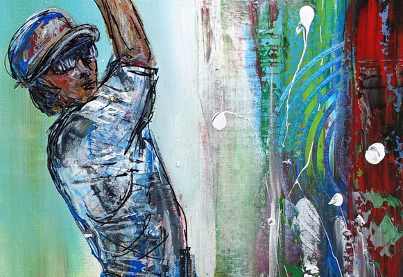 Golfer Abschlag Golfbilder Golfspieler Wandbild Acrylbild Modernes Gemälde
