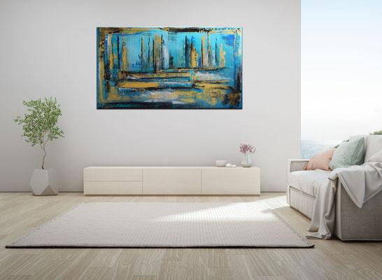 Petrol Gold Abstraktes Wandbild handgemalt Acryl Gemälde Leinwandbild 140x80