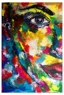 Abstrakte Gesicht Malerei 150x100 mit Gelb Portrait Fluid Gemälde