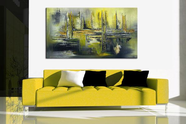 Sonnenstadt kuenstler bilder abstrakt gelb grau acrylbilder abstrakt