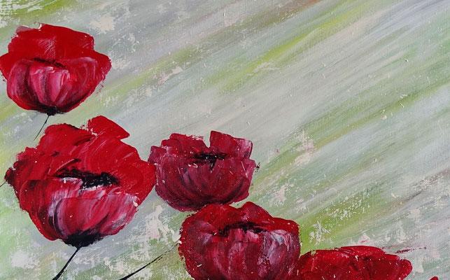 Mohnblumen Tanz Blumenmalerei Wandbild Blüten handgemalt Kunstbild Leinwandbild Acrylbild 100x80x2