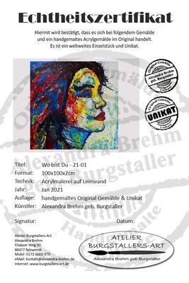 Wo bist Du Wandbild Porträt abstrakt gemalt Fluid