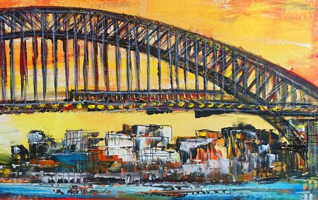 Sydney Skyline Wandbild Oper Harbour Bridge handgemalt XXL Gemälde Acrylbild Unikat