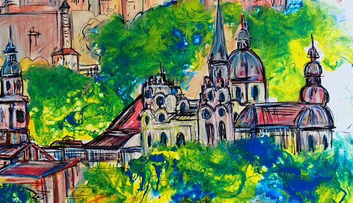 Salzburg Altstadt Festung Dom handgemalt Bild Gemälde Malerei Wandbild 80x120