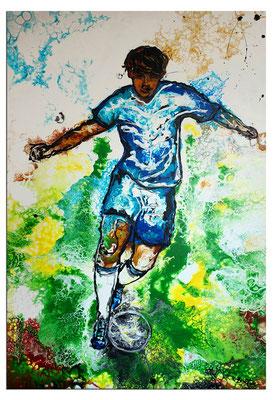 Wandbild Tempodribbling Fußball Malerei Sportbild Gemälde Unikat