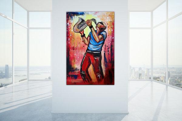 Saxophonspieler 4 handgemaltes Musikerbild Gemälde Musiker Sax Player Modern Saxophonist