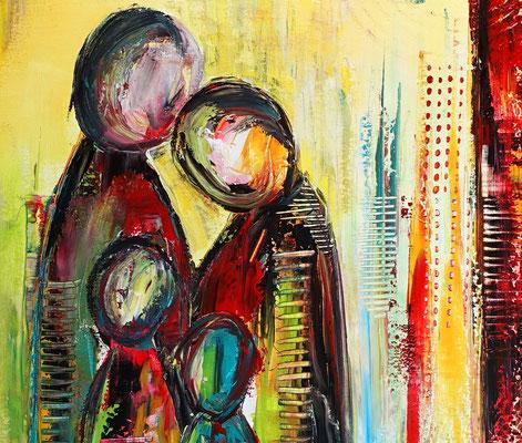 Familien Quartett Figuren Malerei abstrakt figurative Kunst Wandbild Leinwandbild Original Gemälde 70x100x2 - 21-03
