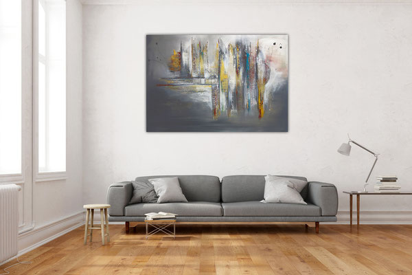 Dripping Gold abstraktes Wandbild Leinwandbild beige grau Gemälde
