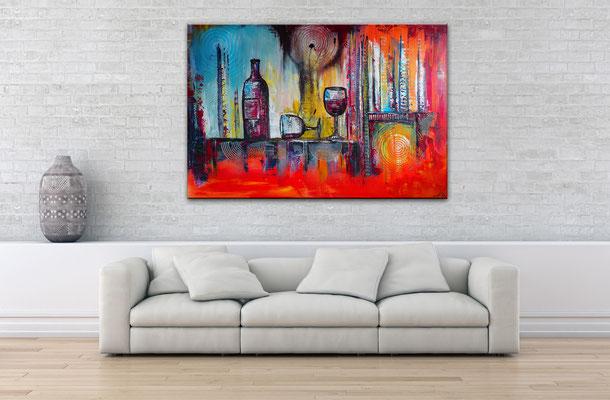Wein Stillleben Weinflasche Gläser abstrakt Acryl Malerei Gemälde Leinwandbild Küche