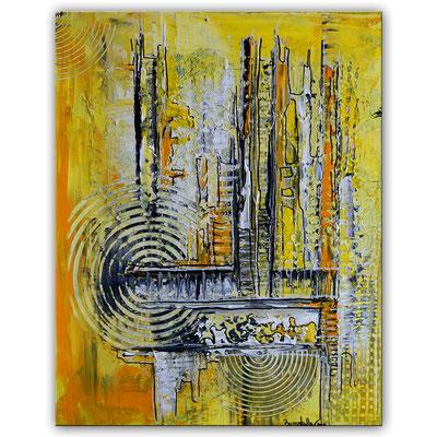 Abstraktes Wandbild gelb grau Acryl Gemälde Unikat Kunstbild 40x50