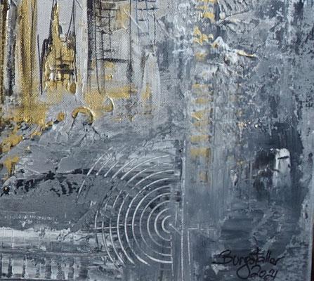 Berlin Wandbild Skyline gold grau Strukturbild Malerei