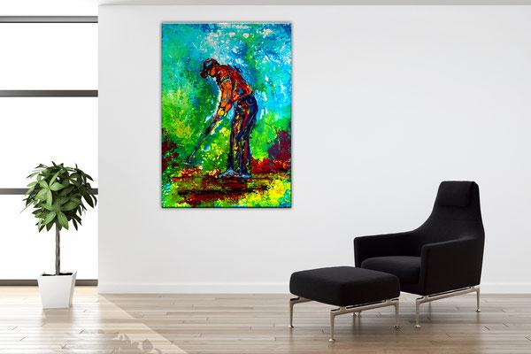 Golfer Bild Abschlag Golfspieler handgemalt Acrylbild Malerei Gemälde Kunst Wandbild