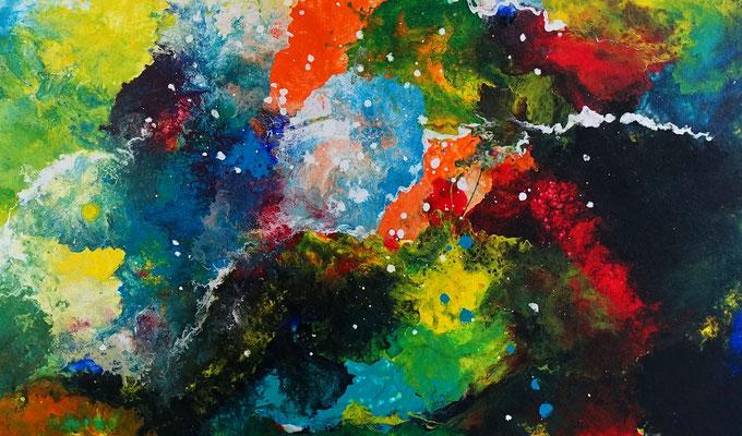 Supernova 2105 abstraktes Wohnzimmerbild Wandbild XXL Bilder BÜro handgemaltes Acrylgemälde