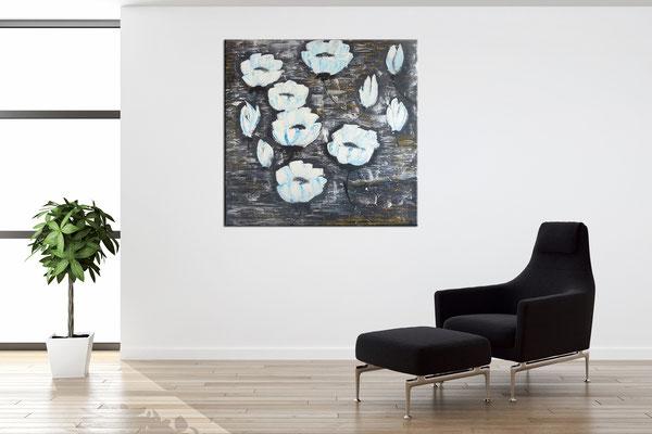 Weiße Blüten 80x80 Moderne Blumen Malerei Gemälde Wandbild handgemaltes Acrylbild 2103