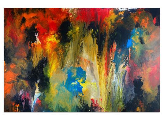 Höhlenreich abstraktes Wandbild XXL orange rot Kunst Bild