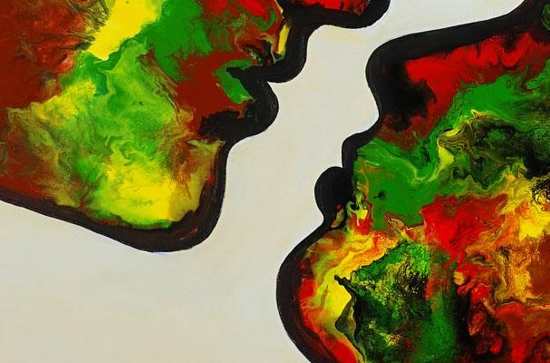 Kuss 21-1 abstrakte Malerei Liebesbild Wohnzimmerbild Fiuren Gesichter Kunst Bild