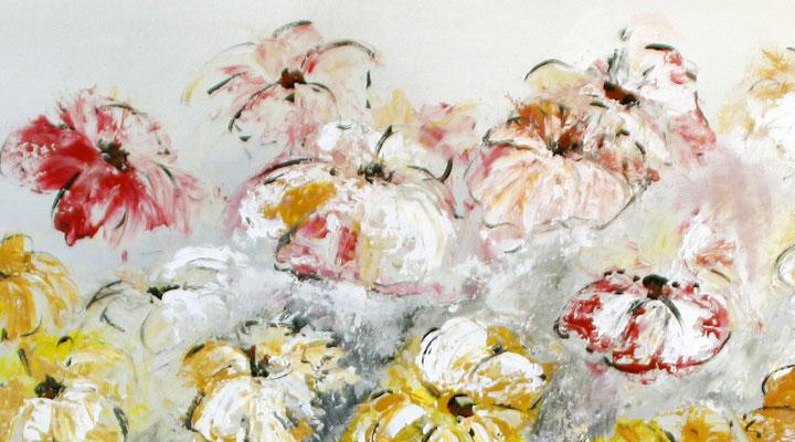 Blumenbild zweiteilig abstrakt xxl grau rot gelb Blumen Gemälde - Detail 3