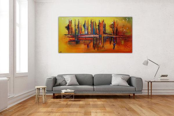 Nevada Skyline abstrakte Malerei gelb orange Leinwandbild Wandbild Acrylbild