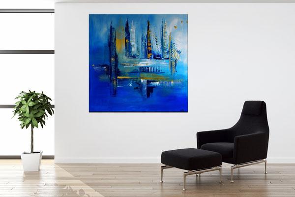 Tiefenrausch blau abstrakte Malerei Original Künstler Bild
